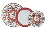 Pagano Home - Servizio piatti in porcellana modello Aiolica rosso per 12 persone 36 pezzi