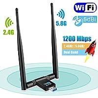 Maxesla USB Wifi Adapter 1200Mbps Wifi Dongle 5G/2.4G Dual Band Detachable 5dBi Antenna for PC/Desktop/Laptop/Tablet Support Windows XP/Vista/2000/7/8/10, Mac OSX 10.6-10.14, Ubuntu Linux