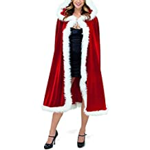 Womens Christmas Red Cloak Velvet Hooded Cape Adult Mrs Santa Claus Fancy Dress Costume 1.5M Capes