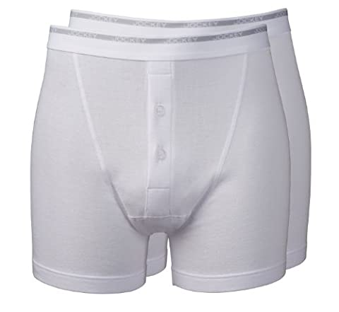 Jockey® Mens Modern Classic 2-Pack Fine Cotton Boxer Trunk Underwear with Button Fly, colour White, size L