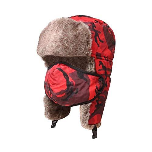 LIXUE Chapeau d'hiver en Coton Lei Feng Version coréenne féminine du Cache-Oreilles Camouflage de la marée pour Garder au Chaud la Protection Contre Le Froid et Le Froid (Color : Graffiti Red)