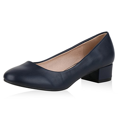 SCARPE VITA Klassische Damen Pumps Business Kitten Heels Leder-Optik Schuhe 153908 Dunkelblau 38