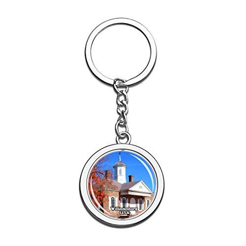 Schlüsselbund Koloniales Williamsburg Vereinigte Staaten USA US Schlüsselbund Kristall Drehen Rostfreier Stahl Schlüsselbund Andenken Schlüsselanhänger