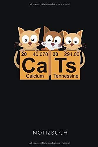 CATS NOTIZBUCH: Notizbuch mit 110 linierten Seiten für Katzenfreunde und Chemiker | Geschenkidee | Format 6x9 DIN A5 | Soft cover matt -