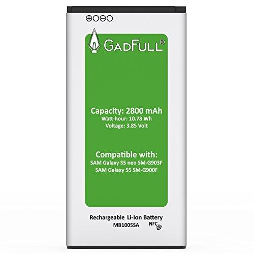 GadFull® Batteria per Samsung Galaxy S5   Corrisponde alla batteria a ioni al litio originale EB-BG900BBE EB-BG900   del modello Galaxy S5 SM-G900F   batteria per il tuo smartphone   Perfetta come batteria sostitutiva