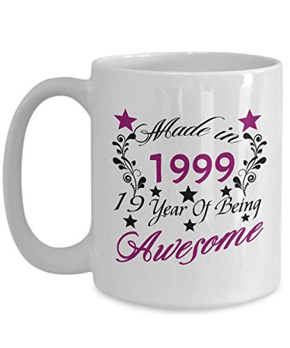Happy 19th Birthday Mugs For Teen 11 OZ - 19 Year Old Girl Gifts Ideas - 19th Birthday Gifts For Girls Teen, Her, Sister, Niece, Daughter For Birthday Or Christmas - Ceramic Tea Cup White