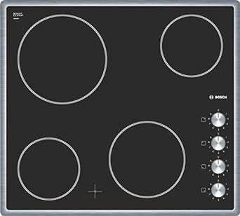 Bosch PKE645C14D Table de Cuisson Vitrocéramique 60 cm Noir et Acier Inox