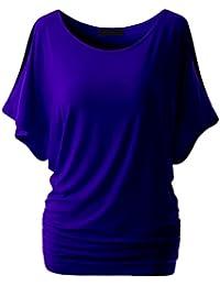 Dooxii Mujeres Verano Batwing Manga Cuello Redondo Camiseta Tops Ocasionales Color Sólido Básica Camisetas