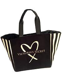 5a39e973c Victoria's Secret Bolso Tote Negro, logo dorado y rayas doradas al costado