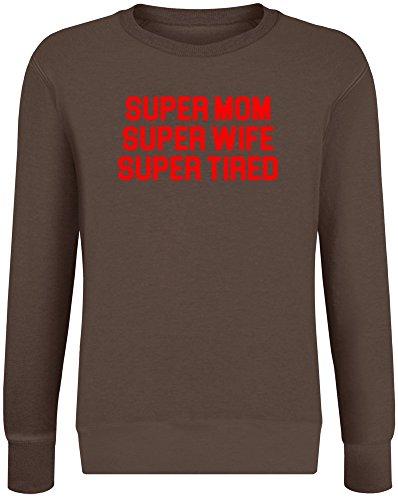 Super Mom Super Frau Super müde - Super Mom Super Wife Super Tired Sweatshirt Jumper Pullover for Men & Women Soft Cotton & Polyester Blend Unisex Clothing X-Large Super Mom-sweatshirt