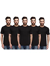 Nitlon Solid Men's Round Neck 100% Cotton Tshirt (Pack of 5)