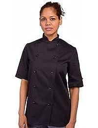 Manga corta de la chaqueta del cocinero con el botón de espárrago (DD20CS)