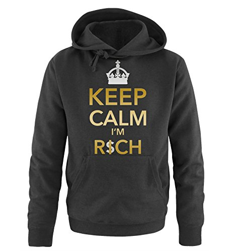 Comedy Shirts - KEEP CLAM I'M RICH - CROWN - Uomo Hoodie cappuccio sweater - taglia S-XXL different colors nero / oro-argento