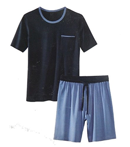 Herren Shorty Schlafanzug Pyjama Nachtwäsche Short + Shirt kurz M L XL XXL *PLT (XL 56 58, Blau)