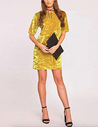 Damen Minikleid Young Fashion Abendkleider Bleistiftrock Samt Wollstoff Hülsen Rundkragen Normallacks Midikleid Pencil Rock Short Dresses Partykleid Gelb