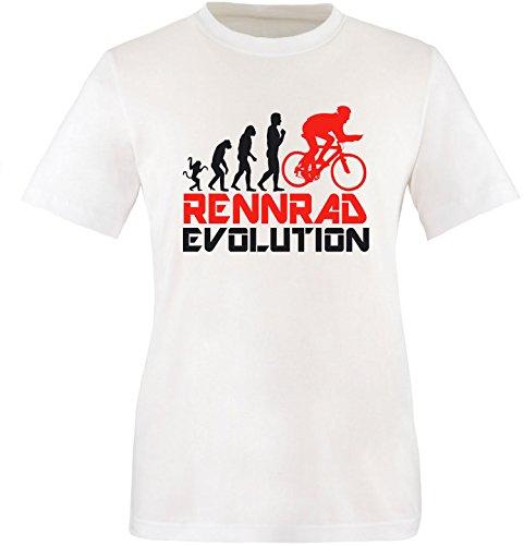 EZYshirt® Rennrad Evolution Herren Rundhals T-Shirt Weiss/Schwarz/Rot
