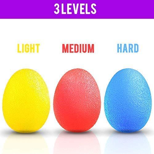 Kurtzy 3er Set Eiförmige Griffbälle, Handtrainer, Antistressball, Fingertrainer mit Unterschiedlichen Härtegraden - Lindert Gelenkschmerzen - Weich Gelb, mittelrot, Hart Blau