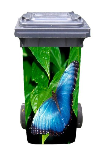 Mülltonnen-Aufkleber Motiv Schmetterling 31 cm x 70 cm für 120 l Tonne Einzigartige Mülltonne