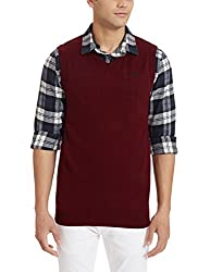 People Mens Synthetic Sweater (8903880729141_P10101188012819_XX-Large_Wine and Black)