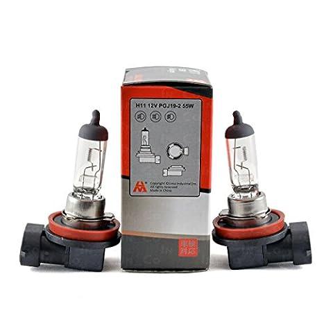 2x Halogenlampen Lampen Birne Glühbirne H11 55W Sockel PGJ19-2 transparent