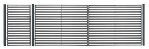 """Luxus4Home """" Berlin """" 6,10m Doppelflügeltor Komplett Set Durchfahrt 4m inkl. Pforte 0,94m, 3 Natursteinpfosten mit jeweils 0,38m Breite, 1 Pforte mit Beschlag, Anschlag und Schloß"""