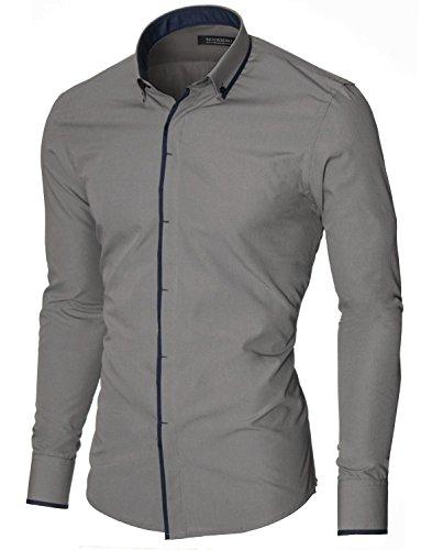 MODERNO Herren Hemd Slim Fit Casual Langarm Button Down Kragen (MOD1445LS) Grau EU S (Button-down-kragen-shirt)