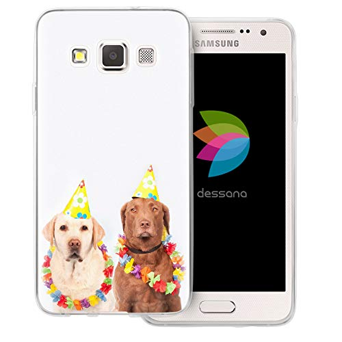 dessana Fasching Party transparente Schutzhülle Handy Case Cover Tasche für Samsung Galaxy A3 (2014-2015) Kostüm Hunde