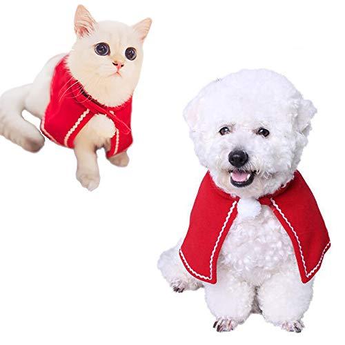 (Katze Santa Hut, Kalolary Tier Weihnachtskostüm Red Poncho Cape Katze Hund Kostüme Warm Cape Haustier Kleidung Urlaub Halloween Zubehör)