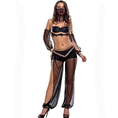 (Pailletten Bauchtanz Kostüm Für Frauen Quasten Bauchtanz Outfit Schwarz Quasten Latin Dance Kleid Rock Kostüm Body Pailletten Kurzen Rock Leistung Kostüm,L)