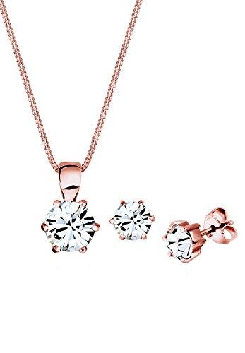 Elli Damen Schmuck Schmuckset Halskette + Ohrringe Klassisch Basic Silber 925 Rosé Vergoldet Swarovski® Kristalle Weiß Länge 45 cm