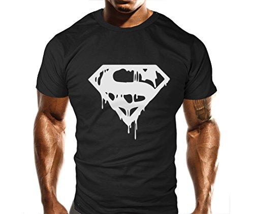Nuovo Unisex Superman T Shirt Top Palestra Bodybuilding Uomo di Acciaio allenamenti Boxe Black M