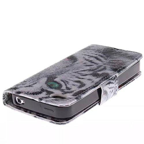 Mobilefashion Custodia in pelle PU Cuoio Custodia Protettiva Portafoglio Case Cover per Apple iPhone 4 4G 4S con funzione di supporto e chiusura magnetica (Tigre E)+ Pellicola Protettiva Tigre E