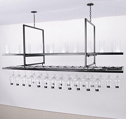Cabinets L bar suspension Bar counter Doppelschicht Weinregale Restaurant Haushalt Weinglas Rack kopfüber Retro Eisen kunst weinregal größe: 100 * 35 * 60 cm