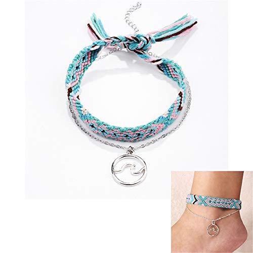 Zqword cavigliera d'onda simbolo per più strati vintage per le donne bracciale cavigliera d'argento di colore bohemien sui gioielli estivi delle gambe,1