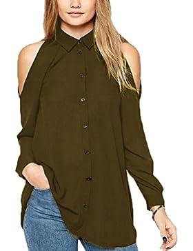 Mujer Gasa Floja Blusa Manga Large Casual Camisetas Fuera del Hombro Colgando El Cuello Camisetas