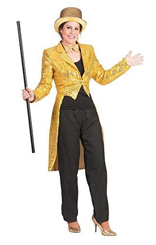 Kostüm Gold Showgirl (Pailletten Frack für Damen Gold Gr. 36 38 zum Show Kostüm für Karneval Faschingoder)