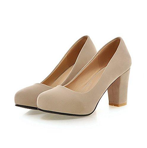VogueZone009 Damen Ziehen Auf Hoher Absatz Nubukleder Rein Rund Zehe Pumps Schuhe Aprikosen Farbe