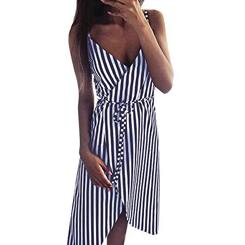 Feinny Sommer Damen Mode Sexy Tiefe V Hohe Taille Ärmellos Trägerlos Gestreift Asymmetrische Sling Kleid/Marine/S-XL -
