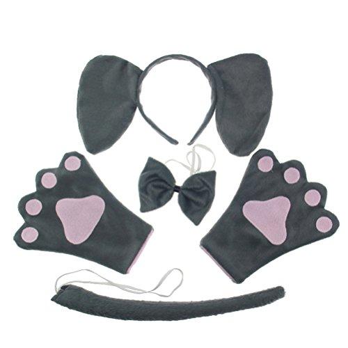 BESTOYARD Erwachsene Kostüme Elefant Kopf Stirnband mit Ohren Tierische Fußabdrücke Handschuhe Tier Schwanz Fliege für Halloween 4 Stück (Grau) (Tierische Kostüm Ohren)