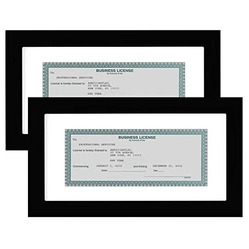 Americanflat Business Lizenz Rahmen - Made for Business License Size 3.5x8 with mat or 5x10 Without mat - Made for Standard Business Licenses, Real Estate License and Bankschecks 5x10 schwarz
