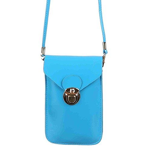 Damen Tasche, Sehr Kleine Umhängetasche Handytasche, Kunstleder, TA-M05 Hellblau