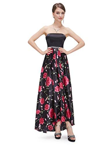 Ever Pretty Robe de cocktail longue bustier satin imprim¨¦ fleur 08391 Rose clair