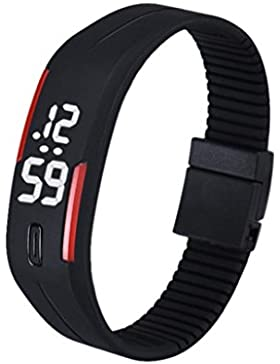 Fulltime® Herren LED Digital Display-Armband-Armbanduhr Tag / Datum, Silikon-Band Super Slim-Sport-Uhr, wasserfest...