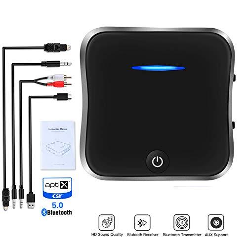 GESPERT Bluetooth 5.0 Transmitter Sender und Empfänger mit Digital Optical Kabel TOSLINK,RCA und 3.5mm Audiostecker,USB Ladekabel,aptX HD und aptX LL,für TV Laptop PC Kopfhörer Lautsprecher Heim