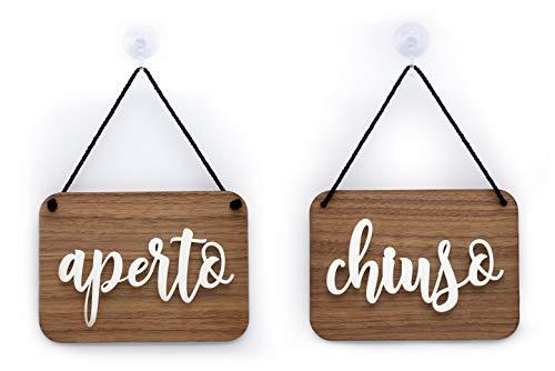 3DP Signs - Cartello Aperto/Chiuso a Rilievo [OC06] Shabby Chic per Porta vetrina Ingresso di Bar, Pub, Ristoranti o Negozi
