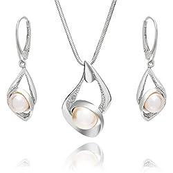 LillyMarie Conjunto de joyas para mujer plata de ley 925, con Elementos Swarovski de perlas, con caja de joyas