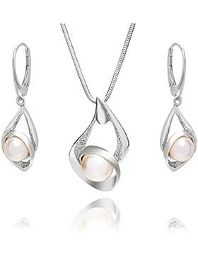LillyMarie Damen Schmuckset Sterlingsilber Silber-Anhänger mit original Swarovski Elements Perle weiss längen-verstellbar...