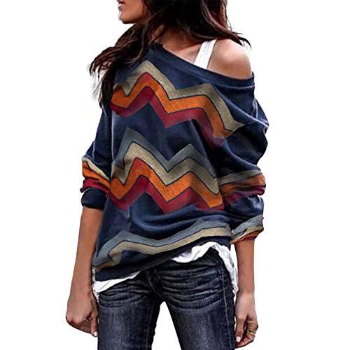 Innerternet Damen Pulli Langarm T-Shirt Off Shoulder Lose Bluse Hemd Pullover Oversize Sweatshirt Oberteil Tops Herbst Winter Warm ()