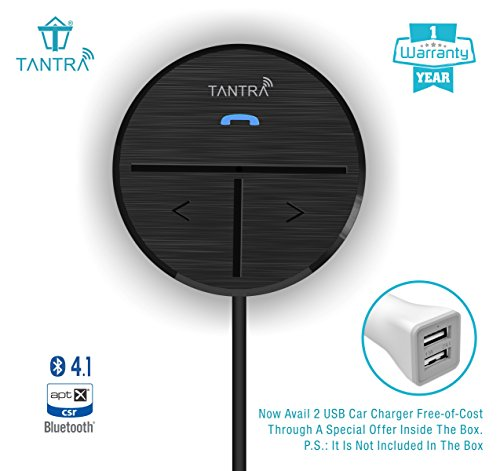 TANTRA Fluke PRO Bluetooth Receiver 41 Hands-Free Car Bluetooth Kit for Car + Home Theater + Music Stereo with 2 Phones Pairing + Siri / Voice Command + Auto Connection + Echo & Noise Cancellation + Built-in Super Quality Mic & with 1 year Warranty (Black)