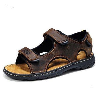 Uomini sandali sandali estivi Casual in pelle tacco piatto marrone Altri Altri Brown